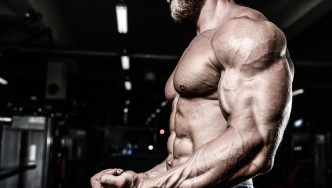 Man with big, muscular upper body