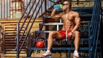Man Drinking Protein Shake Supplement
