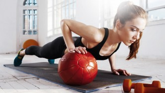 Female-Medicine-Ball-Pushup