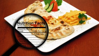 Magnifying-Glass-Displaying-Nutrition-Label-On-Dinner-Plate