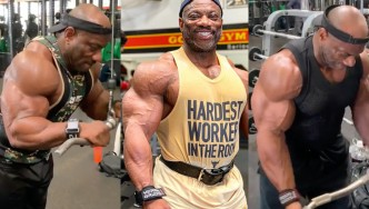 Former Mr. Olympia Dexter Jackson working out in the gym.
