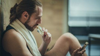Man Eating Protein Bar
