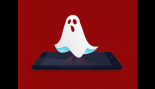Cartoon Image Of A Ghost Floats Over Smartphone Screen thumbnail