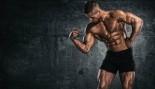 Bodybuilder flexing bicep muscle thumbnail