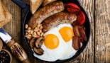 Eggs and sausage in skillet thumbnail