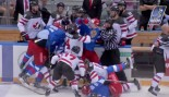 WATCH: Hockey Brawl Breaks Out in Pre-olympic Tournament Between Canada and Russia thumbnail