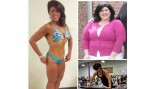 Three photos of Jamie Morgan showing her weight and fitness change. thumbnail