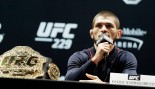 Khabib Nurmagomedov speaks during a press conference for UFC 229. thumbnail