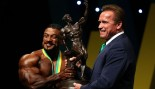 Roelly Winklaar and Arnold Schwarzenegger on stage at the 2017 Arnold Classic. thumbnail