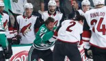 Antoine Roussel of the Dallas Stars gets physical against Luke Schenn of the Arizona Coyotes thumbnail