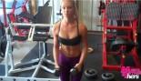 Whitney Wiser doing arm exercises in gym. thumbnail