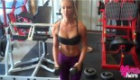 Whitney Wiser doing arm exercises in gym. thumbnail