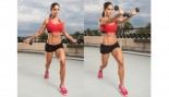 michelle lewin doing dumbbell scoop abs exercise thumbnail
