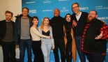 Actors Jack Lowden, Vince Vaughn, Lena Headey, Florence Pugh, Dwayne Johnson, Paige, executive producer Stephen Merchant, and actor Nick Frost pose for a photo at the special Sundance screening of 'Fighting with My Family' on January 28, 2019 in Park City thumbnail