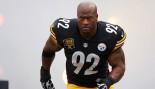 James Harrison Shows Off His Danneyball Throws On the Volleyball Court thumbnail