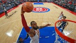 LeBron James #23 of the Cleveland Cavaliers dunks the ball during the game against the Detroit Pistons  thumbnail