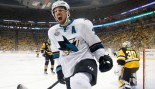 Logan Couture #39 of the San Jose Sharks celebrates after scoring a goal against Matt Murray #30 of the Pittsburgh Penguins. thumbnail