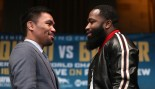 : Manny Pacquiao (L) and Adrien Broner gave a pose during the press conference at Gotham Hall in New York, United States on November 19, 2018.  thumbnail