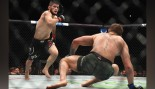 Khabib Nurmagomedov of Russia (L) chases down Conor McGregor of Ireland in their UFC lightweight championship bout during the UFC 229 event. thumbnail