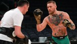 UFC Featherweight Champion Conor McGregor takes part in UFC 205 Open Workouts at Madison Square Garden on November 9, 2016 in New York City. thumbnail