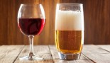 Red Wine And Beer Glass Side By Side thumbnail