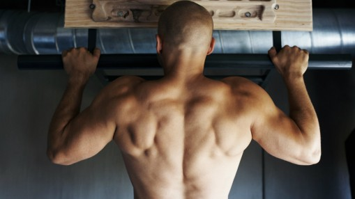 Man's back during pullup thumbnail