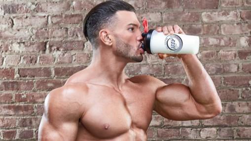 muscular man drinking protein shake thumbnail