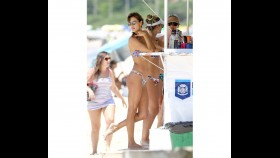 Alessandra Ambrosio shows off her famous curves while vacationing with friends  thumbnail