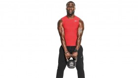 Muscular Kevin Hart holding a kettlebell with red shirt on thumbnail