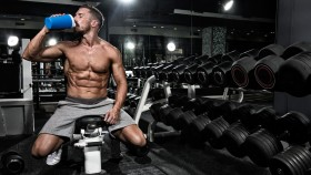 Man drinking protein shake in the gym thumbnail