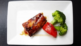 Roasted Salmon Wrapped in Prosciutto With Broccolini thumbnail