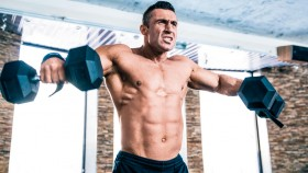 Man doing shoulder exercise: dumbbell lateral raise thumbnail