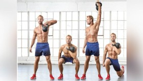 Single-Arm High Pull + Squat To Rotational Press + Alternating Reverse Lunge thumbnail