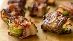 Turkey Bacon-Wrapped Maple Brussels Sprouts thumbnail