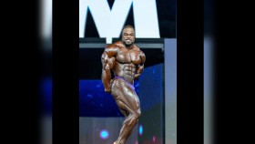 Brandon Curry hitting a side triceps pose at the 2018 Mr. Olympia. thumbnail