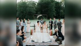 Bridges Deadlift 250 Pounds During Their Wedding Ceremony thumbnail