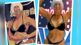 73-Year-Old Bodybuilder Dixie James Posing In Competition thumbnail