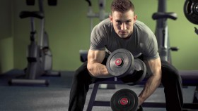 Miniatura de Guy-Sitting-On-Bench-Lifting-Dumbbells