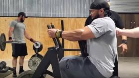 Bodybuilder Performing Back Row Exercise thumbnail