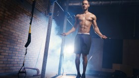 Man jumping rope in gym thumbnail