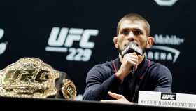 Khabib Nurmagomedov speaks during a press conference for UFC 229. thumbnail