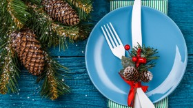 Knife-Fork-Blue-Plate-With-Pine-Cone-And-Holly-Holiday thumbnail