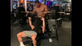 Larry Wheels Manhandles Bodybuilder While Spotting Him thumbnail