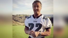 Sylvester Stallone wearing Philadelphia Eagles Football Jersey thumbnail