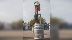 Danielle Vaji presses a keg at the Strongest Women in the World competition thumbnail