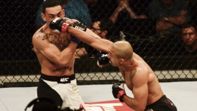 Jose Aldo of Brazil punches Max Holloway. thumbnail