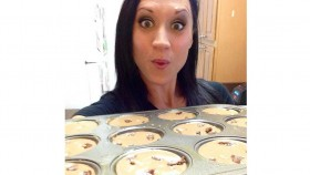 Victoria Adelus with a pan of unbaked chocolate banana muffins Video Thumbnail