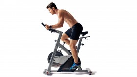 Man Cycling on Indoor Bike thumbnail