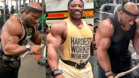 Former Mr. Olympia Dexter Jackson working out in the gym. thumbnail