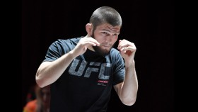 UFC lightweight champion Khabib Nurmagomedov attends an open workout for UFC 229. thumbnail